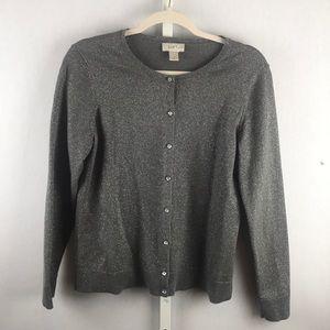 LOFT PL grey cardigan w/jeweled buttons